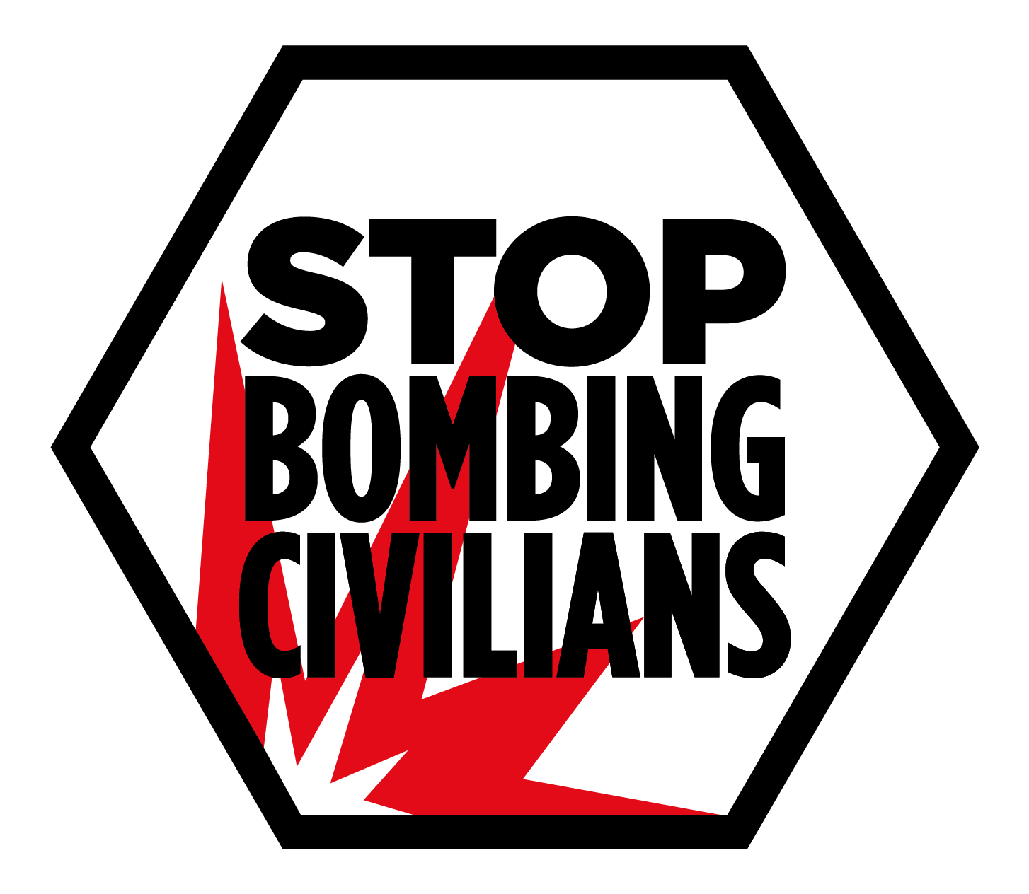 "Logo ""Stop Bombing Civilians"" de Handicap International (Non aux bombardements des civils)"