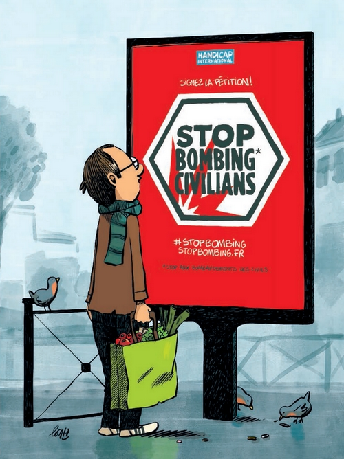 Bande dessinée de Guillaume Long pour Handicap International sur la problématique des bombardements de civils