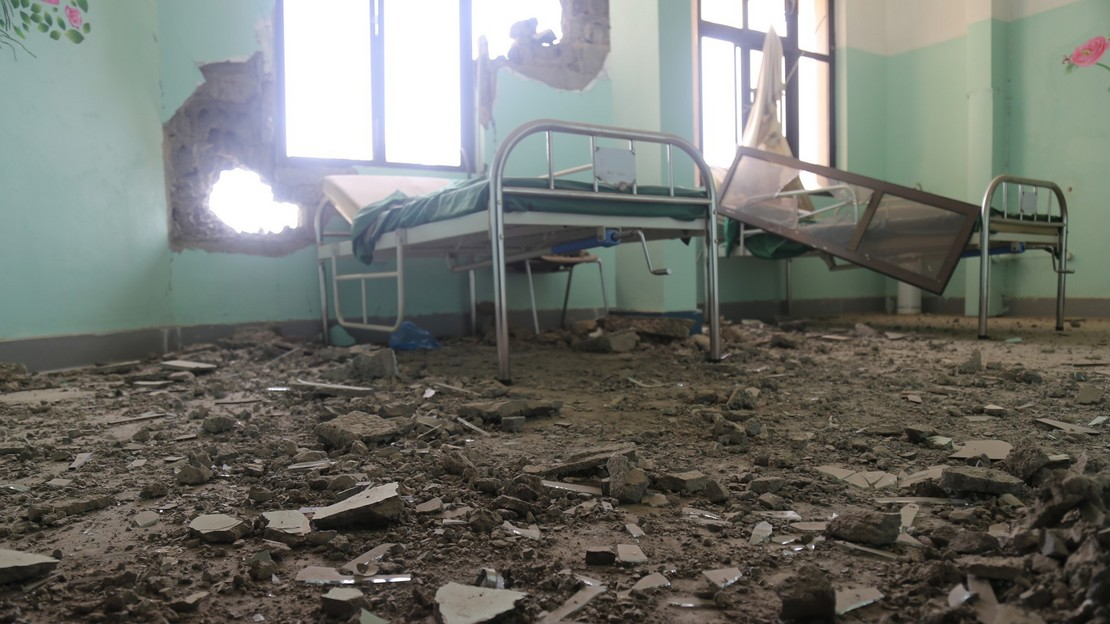 Au Yémen, destruction de l'hopital Al-Joumhori à Ta'izz - Handicap International