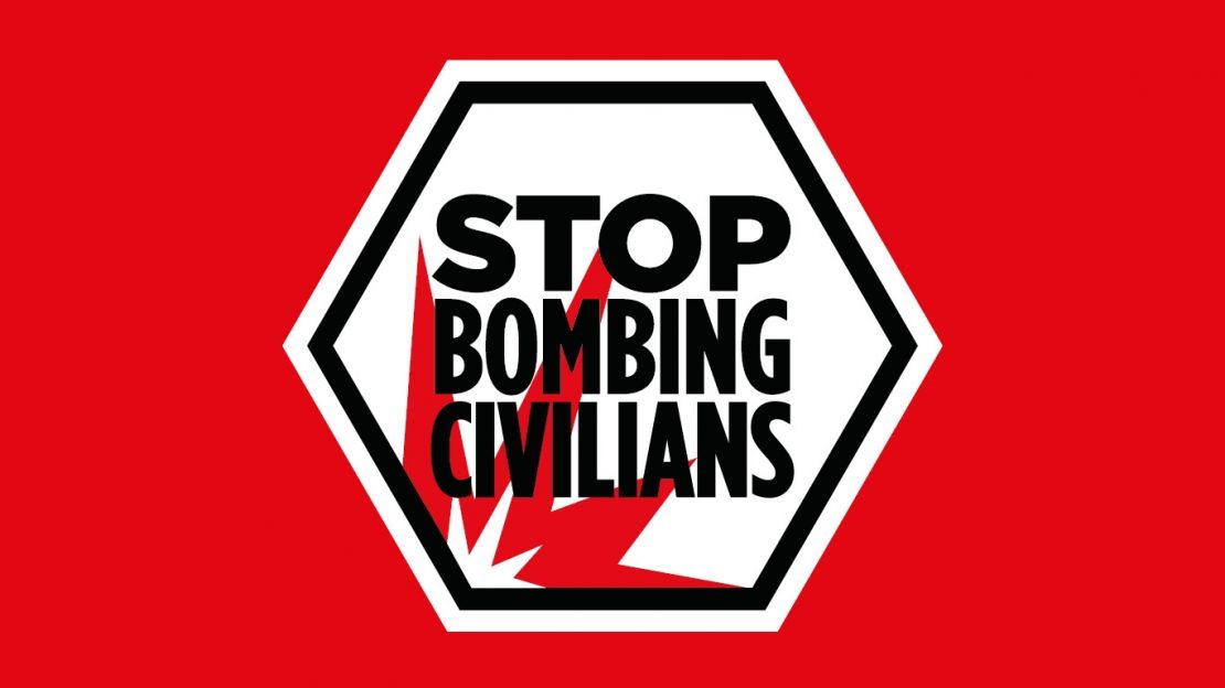 Logo Stop Bombing Civilians (stop aux bombardements des civils) de Handicap International